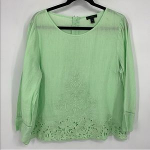 J. Crew Embroidered Linen Top in Tea Green - C5233